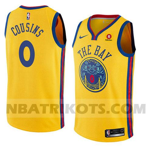 nba golden state warriors trikots Demarcus Cousins 0 stadt 2018-19 herren gelb