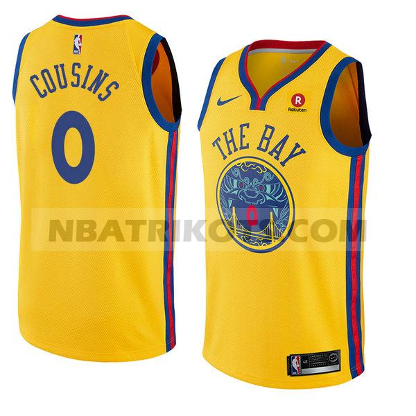 nba golden state warriors trikots Demarcus Cousins 0 stadt 2018 herren gelb